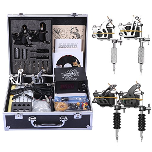 Shark Professional Tattoo Kit 4 Machines Gun Carry Case With Key Power...