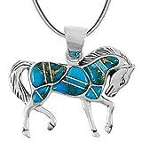 Horse Pendant Necklace 925 Sterling Silver Genuine Gemstones (20', Teal/Matrix Turquoise)