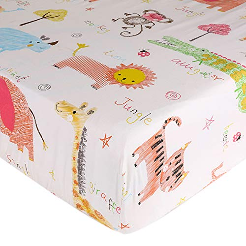 (Crib Sheet UOMNY 100% Natural Cotton Crib Fitted Sheets Baby Sheet Set for Standard Crib and Toddler mattresses Nursery Bedding Sheet for Boys and Girls 1 PackZoo Pattern)