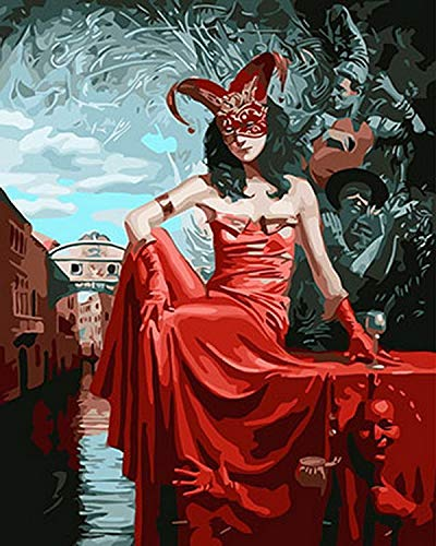 DIY Oil Paint by Number Kit for Adults Beginner 16x20 Inch - Mysterious Lady in Red,Drawing with Brushes Christmas Decor Decorations Gifts (Framed)