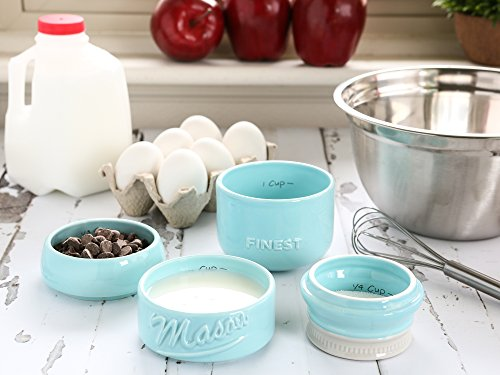 Mason Jar Measuring Cups Set - Set of 4 Ceramic Measuring Cups (¼, ⅓, ½, 1 cup) in Rustic, Antique, Farmhouse Design Perfect for Your Kitchen by Sparrow Decor (Blue)