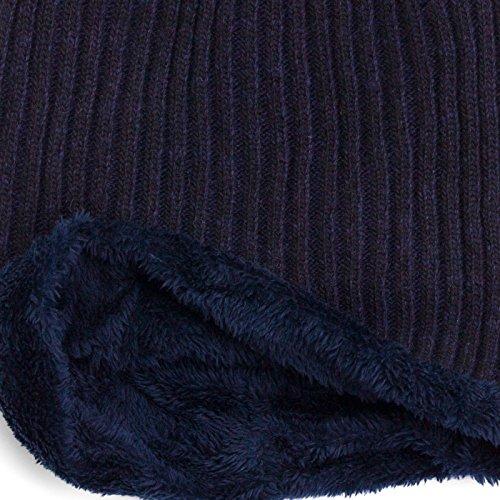 invierno Azul de de con grueso Beanie interior brezo Gorro suave diseño Marino Compagno punto wxztf7q7