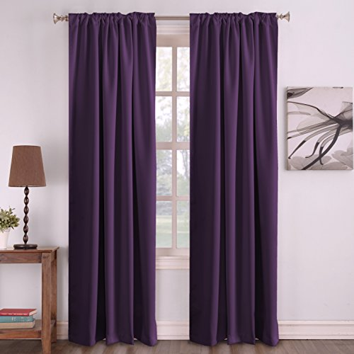 (Turquoize Blackout Curtains Purple Window Treatments Thermal Insulated Curtains for Living Room, Back Tab/Rod Pocket Window Drapes, 2 Panels - 52 inches Wide by 84 inches Long, Plum Purple)