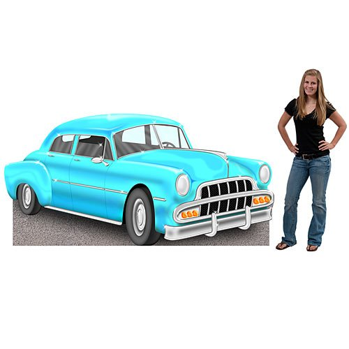 3 ft. 8 in. Blue Havana Nights Car Standee Standup Photo Booth Prop Background Backdrop Party Decoration Decor Scene Setter Cardboard Cutout