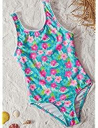 Aleumdr - Bañador de verano multicolor con estampado de flores para niñas de 4 a 8 años