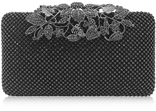 Womens Evening Bag with Flower Closure Rhinestone Crystal Clutch Purse for Wedding Party Pewter