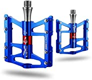ROCKBROS Mountain Bike Pedals Platform Advanced 4 Bearings Bicycle Flat Alloy Pedals 9/16&