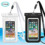 Universal Waterproof Phone Case, Large Waterproof Phone Pouch Dry Bag for apple iPhone X, 8, 7, 6 Plus, SE, Samsung S9+ S8 S8+, 6.5' High, Outdoor Water Sports Snowproof Dirtproof 2 Pack (Black+White)