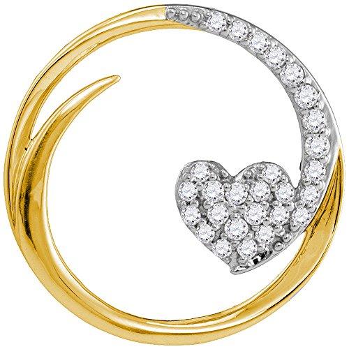 10k Gold Circle Heart Pendant - Roy Rose Jewelry 10K Yellow Gold Ladies Diamond Heart Love Circle Pendant 1/4 Carat tw