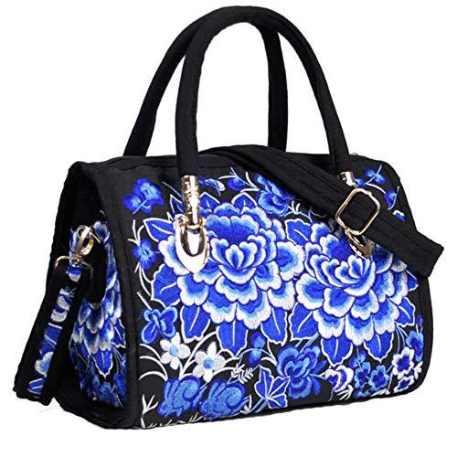 VINTAGE EMBROIDERY V.E. Women's Designer Large Top Handle Structured Tote Bag Satchel Handbag Shoulder Bag Purse (Blue Flower) (Blue Flower Satchel)