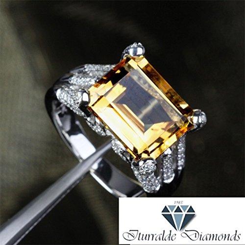 Citrine Frog - 14k Large Emerald Cut Citrine Frog Finger Diamond Pave Prongs Engagement Ring