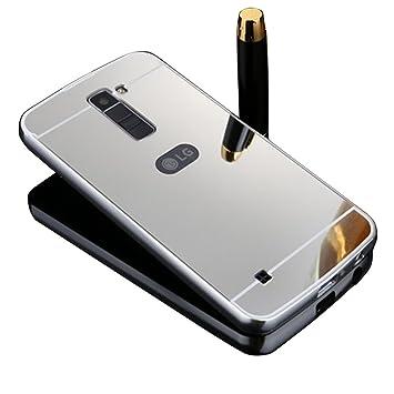 VANDOT Duro Híbrido Carcasa para LG K10 PREMIUM Bumper Case del Metal Aluminio + PC Ultrafina Espejo Efecto Trasero Funda Cover - Plata