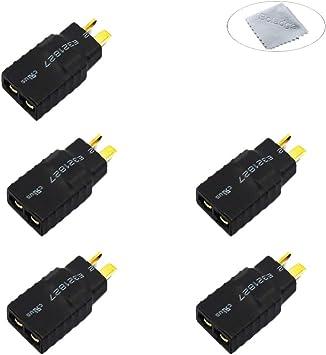 Boladge 5 Piezas Adaptador de Conector Macho Enchufe T Deans a Conector Hembra Enchufe TRX Traxxas para Cargador de Batería RC Choque E Revo
