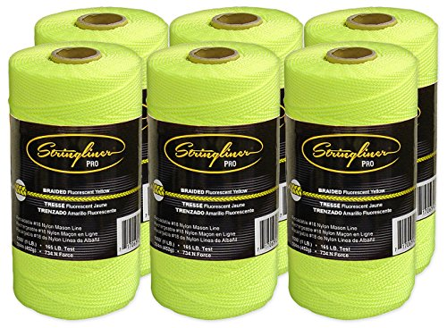 - Stringliner Braided Mason Line Replacement Roll Contractor Pack 1,000' - Fluorescent Yellow (6 Pack) - SL35765CPK