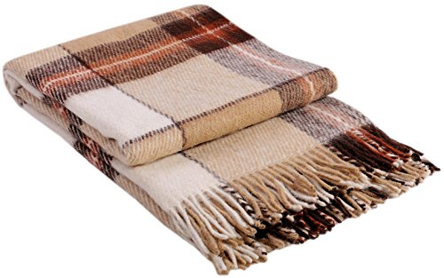 "Luxury Wool Blanket 55""x79"" by CG Home – Super Warm and Soft Beige / Brown Blanket for Cozy Fall and Winter Days –Tartan Plaid Throw Blanket Accents Any Home Décor by CG Home"
