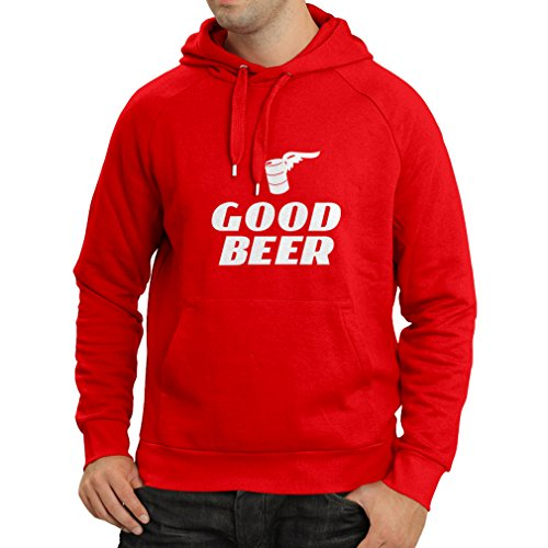 lepni.me Hoodie I Need a Good Beer - Funny Gift Ideas For Beer Lovers, Bar, Humor Party Clothing (Medium Red White)