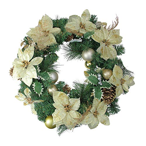 Northlight Pre-Decorated Poinsettia, Pine Cone and Ball Artificial Christmas Wreath -Unlit 24