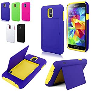 CellularVilla Case For Samsung S5 Purple Yellow Rugged Layered Hybrid Credit Card Stowaway Wallet Hard Shell Stand Combo Case Cover