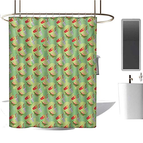 Food Shower Curtains with Shower Hooks Hamburger French Fries and Drink Pattern on an Abstract Colorful Circles Background Fabric Bathroom Set with Hooks Multicolor (Best Hamburger In Phoenix Area)