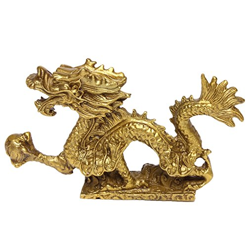 Chinese Fenghsui Dragon Magical and Noble Copper Dragon Sculpture Figurine Home ()