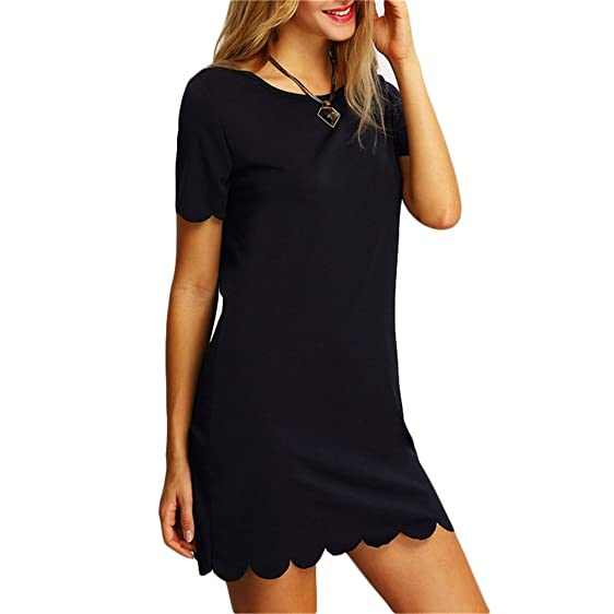 Huijsnq Ladies Black Scalloped Dresses New Arrival Casual Summer