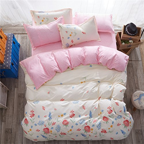 4 Pieces Simple Microfiber Duvet Cover Set Full (1 Duvet Cover +1 Flat Sheet +2 Pillowcases) Zipper Closure ,Ultra Soft Lightweight Chic Peach with Pink (Simple Flowers Set)