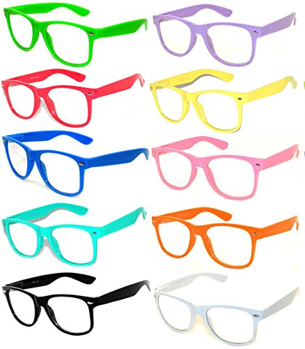 Wholesale 10 Pack Classic Vintage Clear Lens Sunglasses Colored - Quality High Sunglasses Wholesale