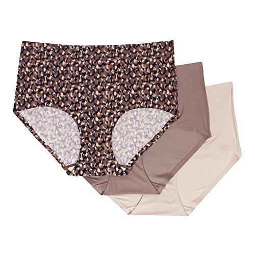 Second Skin Lingerie - Kathy Ireland Women's 3 Pack Full Coverage Brief Underwear Elastic Waist Panties Dark Charcoal/Brown/Beige Large