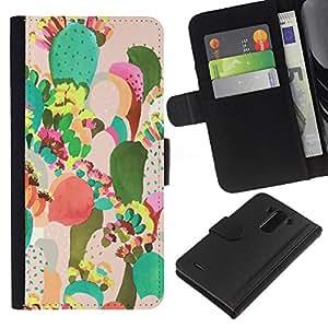 Pintura colorida Art México- la tarjeta de Crédito Slots PU Funda de cuero Monedero caso cubierta de piel Para LG G3