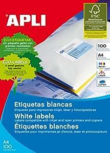 APLI 2421 - Etiquetas blancas imprimibles (99,1 x 93,1), adhesivo permanente 100 hojas