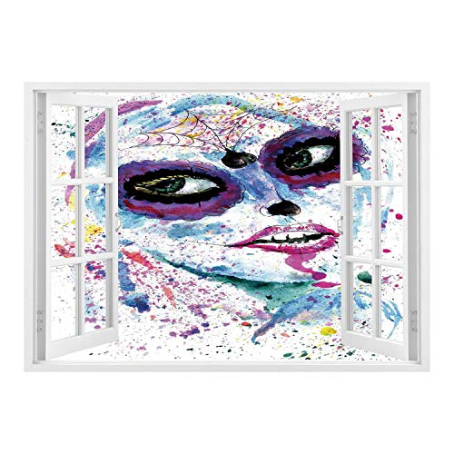 SCOCICI Peel and Stick Fabric Illusion 3D Wall Decal Photo Sticker/Girls,Grunge Halloween Lady with Sugar Skull Make Up Creepy Dead Face Gothic Woman Artsy,Blue Purple/Wall Sticker Mural -