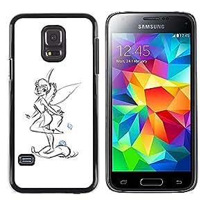 Paccase / SLIM PC / Aliminium Casa Carcasa Funda Case Cover - Fairy Wings Girl Drawing Pencil Art Ladybug - Samsung Galaxy S5 Mini, SM-G800, NOT S5 REGULAR!