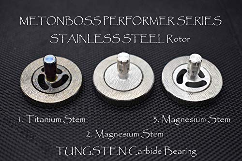 MetonBoss Stainless Steel Performer Spinning Top with Tungsten Carbide Bearing Ball & Precision Milled Titanium stem | Gift for him EDC (1. Stainless Steel - Magnesium Stem) by MetonBoss (Image #4)