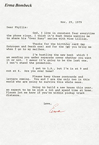 Erma Bombeck - Typed Letter Signed - Signed Typed