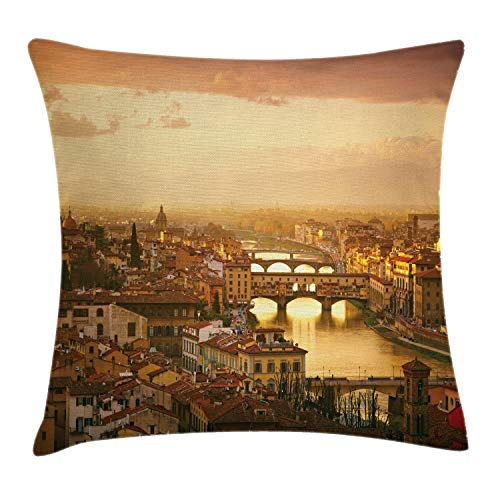 """Ambesonne Wanderlust Throw Pillow Cushion Cover, Bridge Ponte Vecchio Italy Bird Eye Sunset View Castle Houses Historic Cityscape, Decorative Square Accent Pillow Case, 16"""" X 16"""", Brown Yellow"""