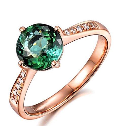 1 Carat clásico verde esmeralda y oro rosa anillo de compromiso de diamantes para mujeres