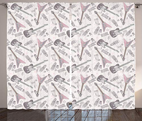 - Ambesonne Music Decor Collection, Pattern with Guitars Shoes Skulls Crossbones Stars Punk Rock Music Concert Image Pattern, Living Room Bedroom Curtain 2 Panels Set, 108 X 84 Inches, Gray Pink