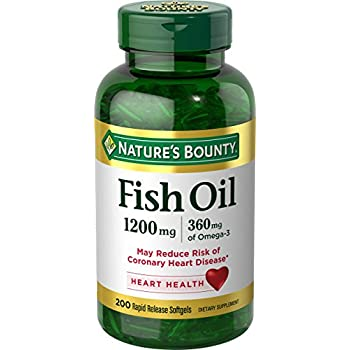 Nature's Bounty Fish Oil, 1200 mg Omega-3, 200 Rapid Release Softgels, Dietary Supplement for Supporting Cardiovascular Health(1)