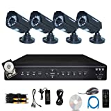 iSmart 4 Channel H.264 CCTV Security Surveillance HDMI Motion Recording DVR and 4 Outdoor Weatherproof IR Night Vision Bullet Cameras with pre-installed 500GB Hard Drive (D6104FH + 500GB + C1030DP5x4)