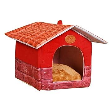 JEELINBORE Vintage Plegable Portátil Cama de Mascota Iglú Casa para Perros y Gatos (M: 40 * 36 * 40CM, Estampado #7): Amazon.es: Hogar