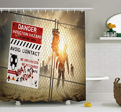 Ambesonne Zombie Decor Shower Curtain, Dead Man Walking Dark Danger Scary Scene Fiction Halloween Infection Picture, Fabric Bathroom Decor Set with Hooks, 84 Inches Extra Long, Red Sepia]()