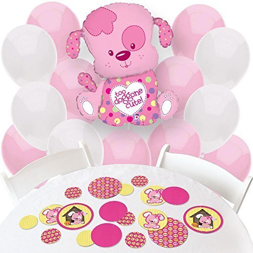 Girl Puppy Dog - Confetti and Balloon Party Decorations - Combo Kit ()