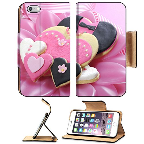 Br Biscuit (Liili Premium Apple iPhone 6 Plus iPhone 6S Plus Flip Pu Leather Wallet Case iPhone6 Plus IMAGE ID: 29495016 Delicious wedding party bride and groom pink white and black heart shape biscuit cookies br)