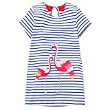 Little Girls Animal Print Cotton Summer Short Sleeve Tunic Dress with Striped Pocket (6T, Flamingo)
