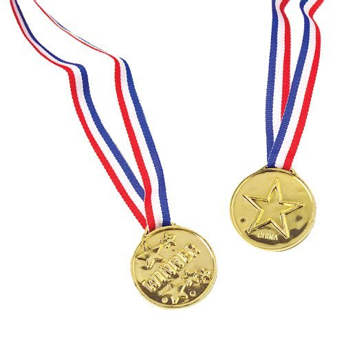 Plastic Gold Star Winner Medals With Ribbons (12)