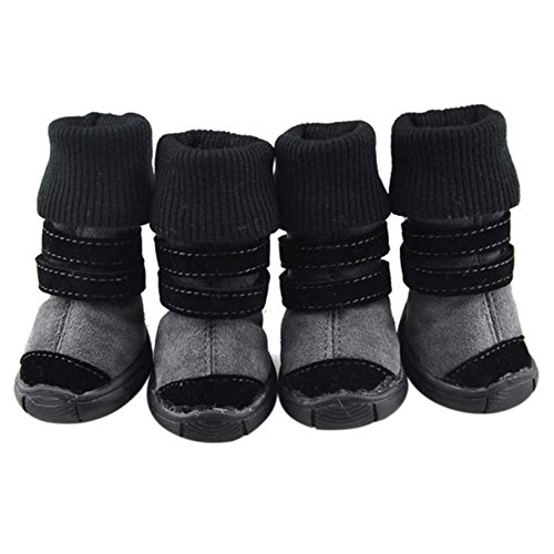 4pcs Pet Dog Anti-slip Soft Leather Cashmere Shoes Waterproof Belt Boots For Teddy Chihuahua (S, Black)