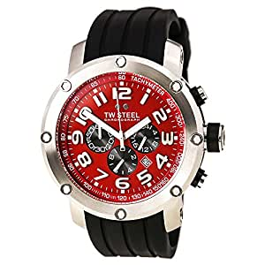 TW Steel Men's TW125 Grandeur Tech Black Rubber Red Chronograph Dial Watch