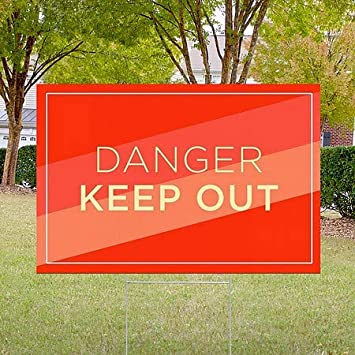 Modern Diagonal Double-Sided Weather-Resistant Yard Sign 18x12 Danger Keep Out CGSignLab 5-Pack