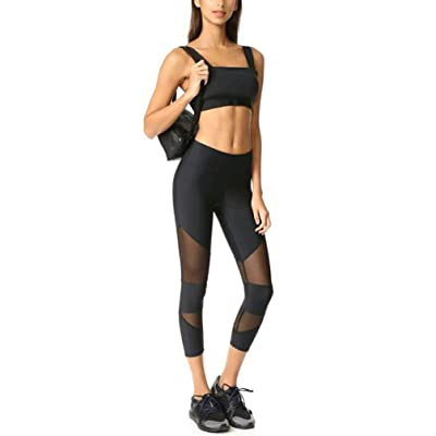 WuyiMC Womens High Waisted Yoga Pants Workout Leggings Patchwork Mesh Sport Pant