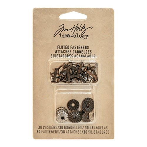 Tim Holtz Idea-ology Fluted Brad Fasteners with Decorative Washer 30-Pack, 1/2 Inch Long Each, Mix of Nickel, Brass and Copper Antique Finishes (TH93273)